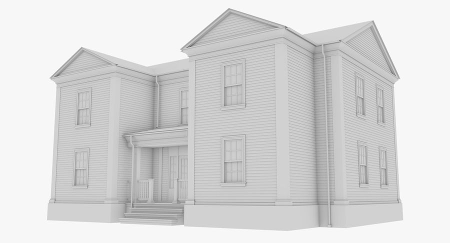 Colonial House 8 Bare Bones Version royalty-free 3d model - Preview no. 2
