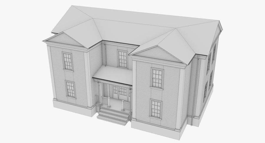 Colonial House 8 Bare Bones Version royalty-free 3d model - Preview no. 11