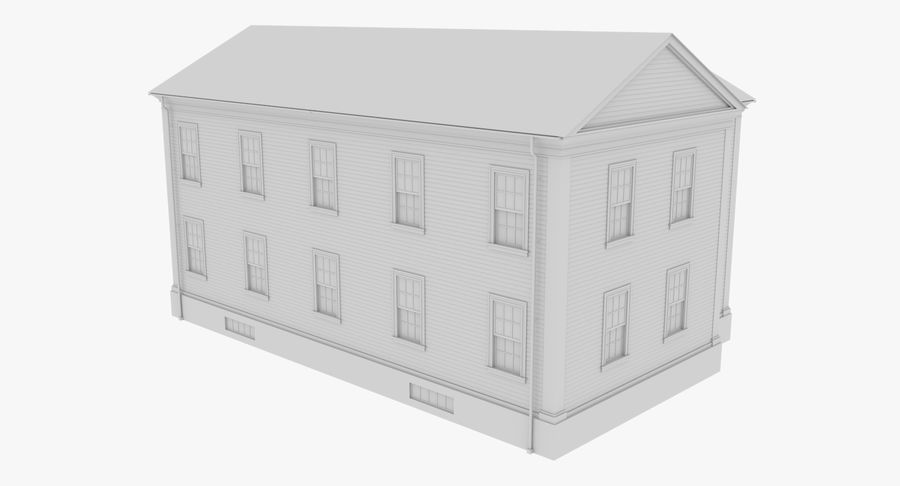 Colonial House 8 Bare Bones Version royalty-free 3d model - Preview no. 5