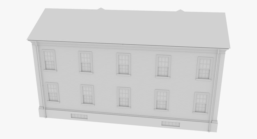 Colonial House 8 Bare Bones Version royalty-free 3d model - Preview no. 9