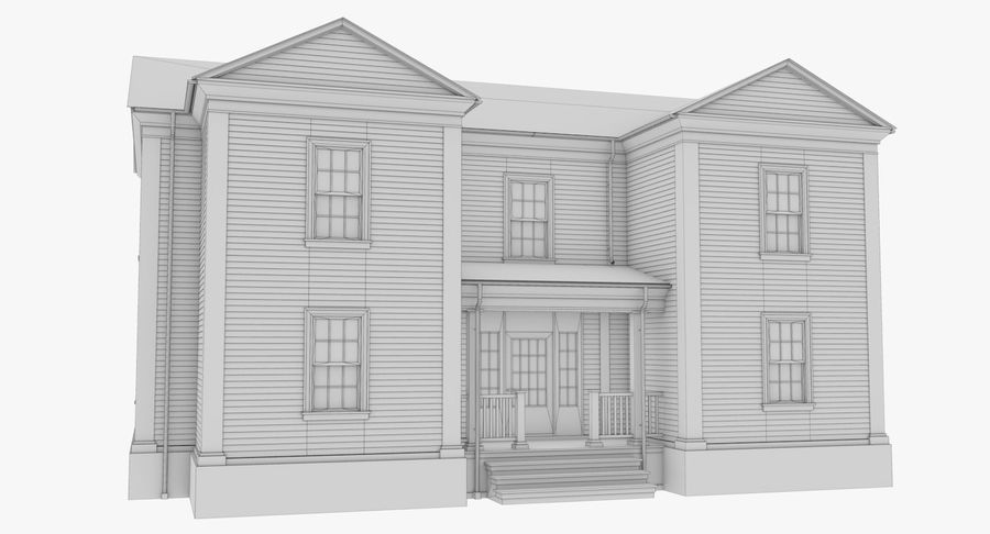 Colonial House 8 Bare Bones Version royalty-free 3d model - Preview no. 16