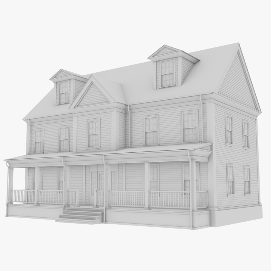 Colonial House 14 Bare Bones Version royalty-free 3d model - Preview no. 1