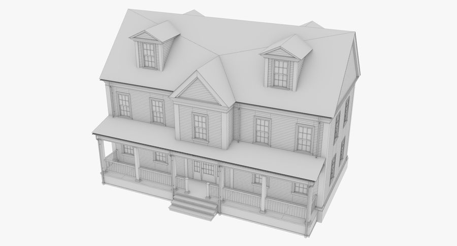 Colonial House 14 Bare Bones Version royalty-free 3d model - Preview no. 11