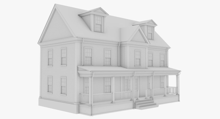 Colonial House 14 Bare Bones Version royalty-free 3d model - Preview no. 4