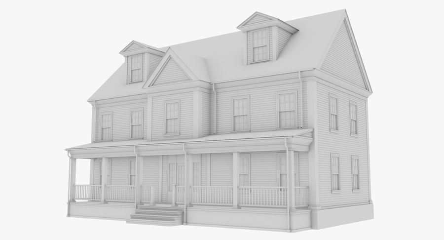 Colonial House 14 Bare Bones Version royalty-free 3d model - Preview no. 2