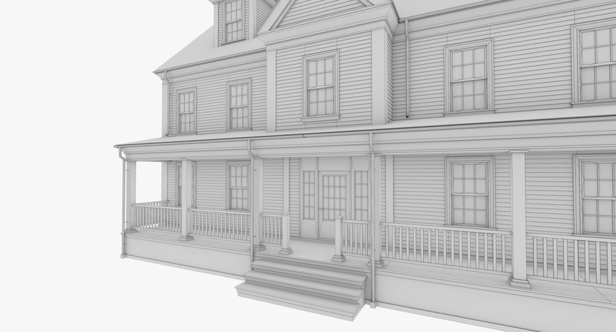 Colonial House 14 Bare Bones Version royalty-free 3d model - Preview no. 15