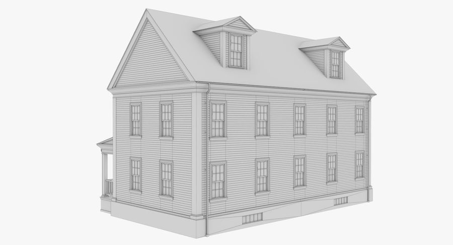 Colonial House 14 Bare Bones Version royalty-free 3d model - Preview no. 14