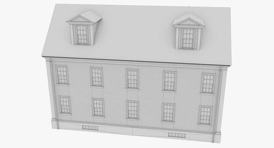 Colonial House 14 Bare Bones Version royalty-free 3d model - Preview no. 17