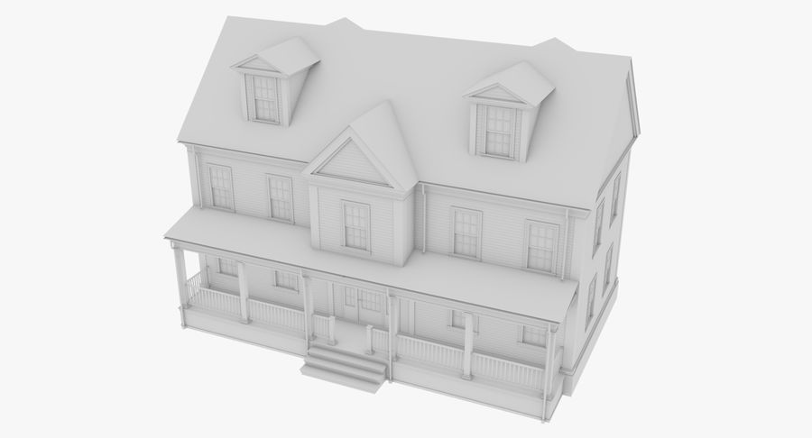 Colonial House 14 Bare Bones Version royalty-free 3d model - Preview no. 3