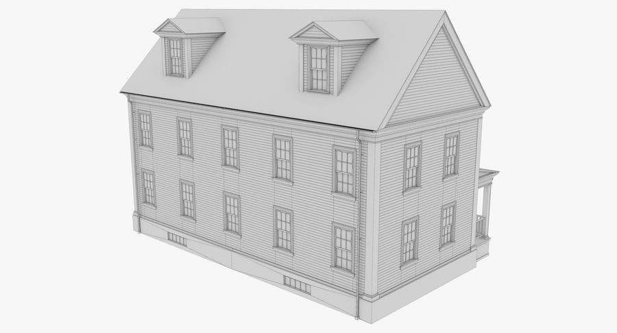 Colonial House 14 Bare Bones Version royalty-free 3d model - Preview no. 13
