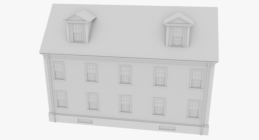 Colonial House 14 Bare Bones Version royalty-free 3d model - Preview no. 9