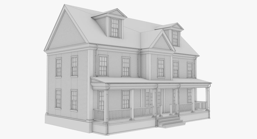 Colonial House 14 Bare Bones Version royalty-free 3d model - Preview no. 12