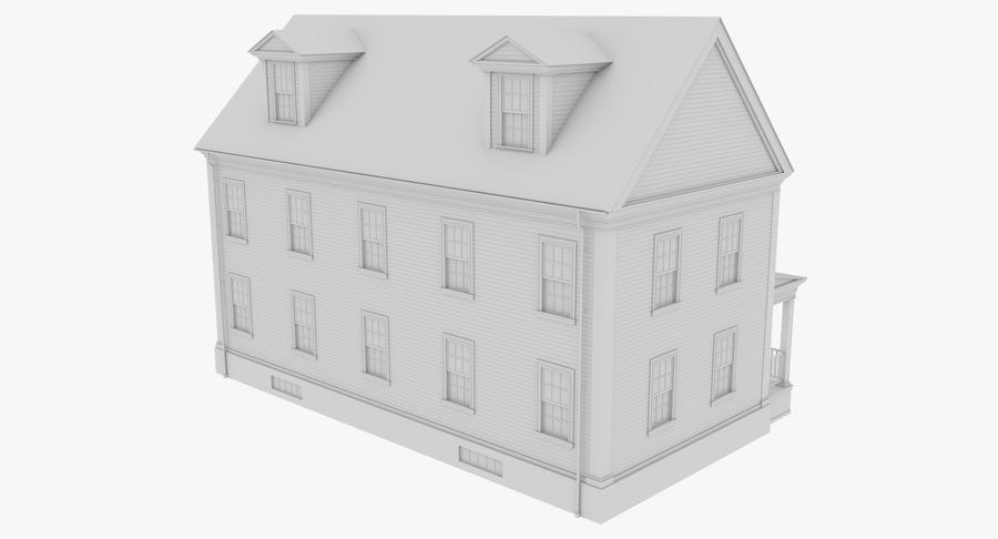Colonial House 14 Bare Bones Version royalty-free 3d model - Preview no. 5