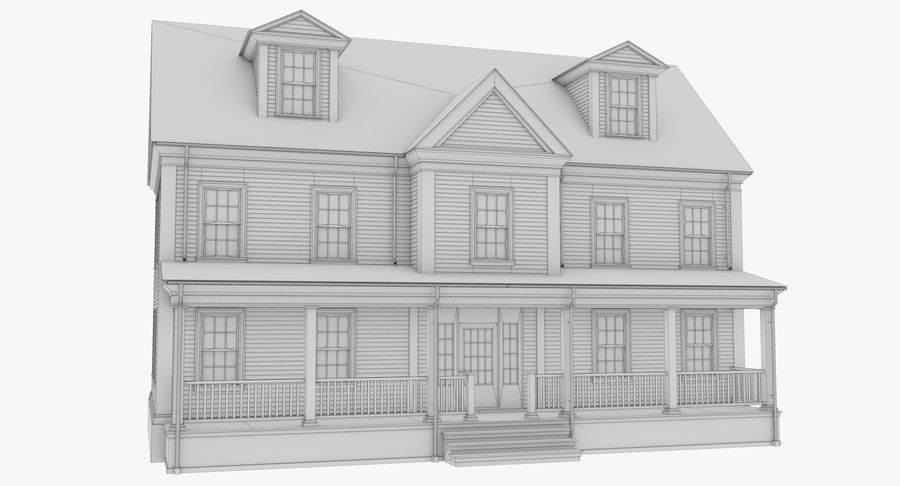 Colonial House 14 Bare Bones Version royalty-free 3d model - Preview no. 16