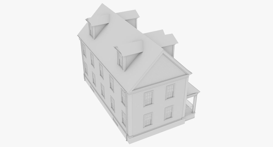Colonial House 14 Bare Bones Version royalty-free 3d model - Preview no. 10