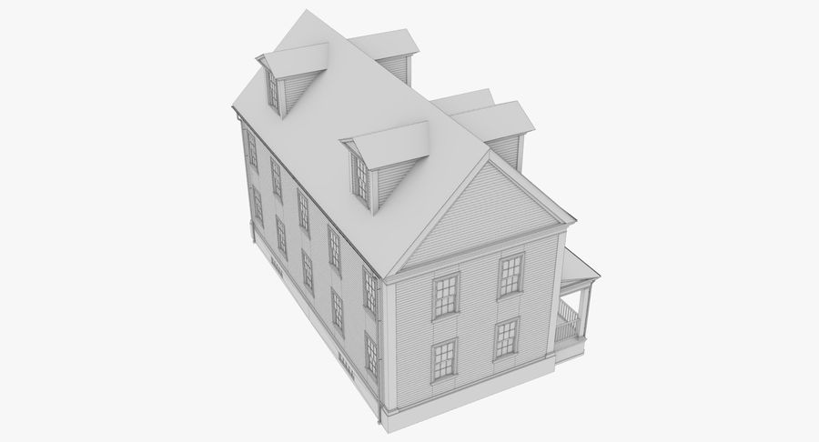 Colonial House 14 Bare Bones Version royalty-free 3d model - Preview no. 18