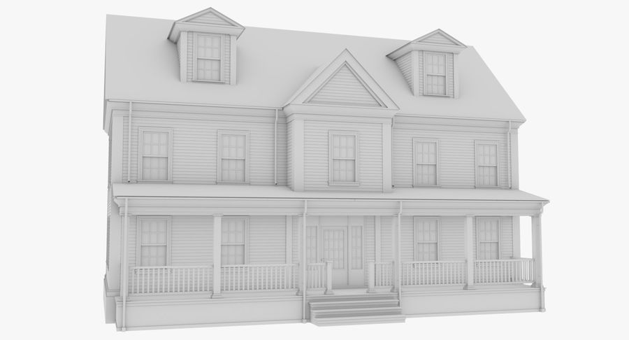 Colonial House 14 Bare Bones Version royalty-free 3d model - Preview no. 8