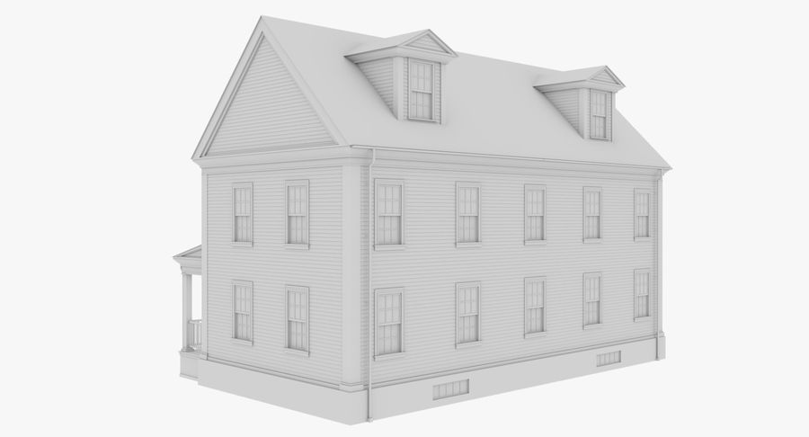 Colonial House 14 Bare Bones Version royalty-free 3d model - Preview no. 6