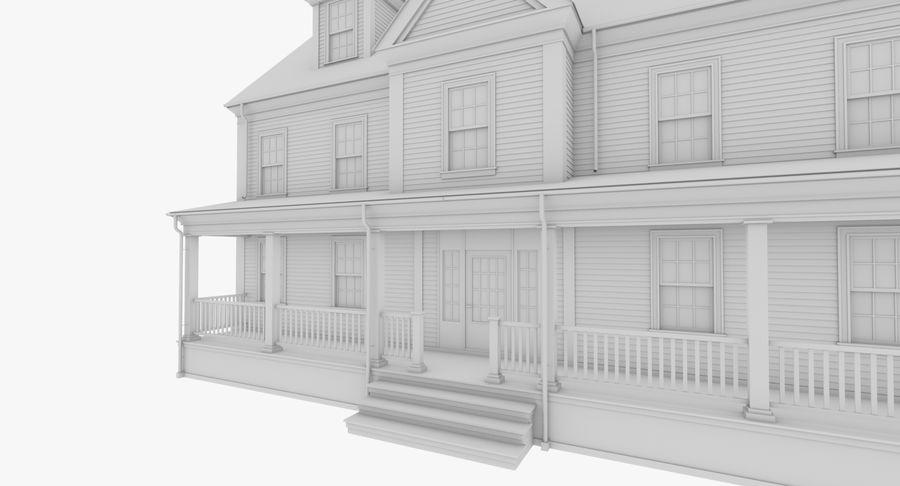 Colonial House 14 Bare Bones Version royalty-free 3d model - Preview no. 7