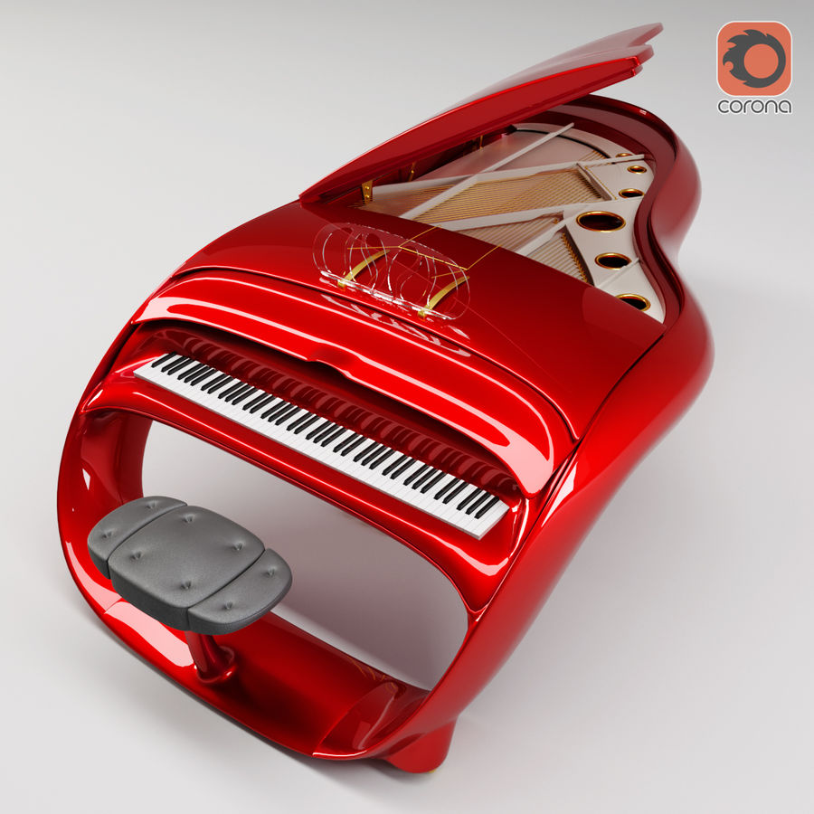 Schimmel Pegasus piano royalty-free 3d model - Preview no. 11