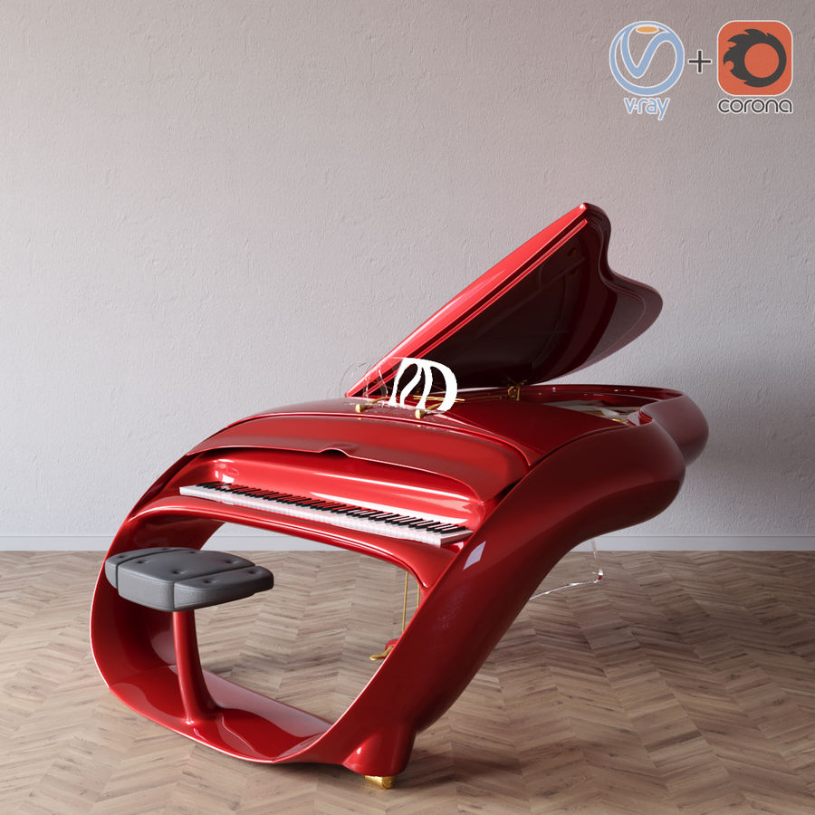 Schimmel Pegasus piano royalty-free 3d model - Preview no. 1