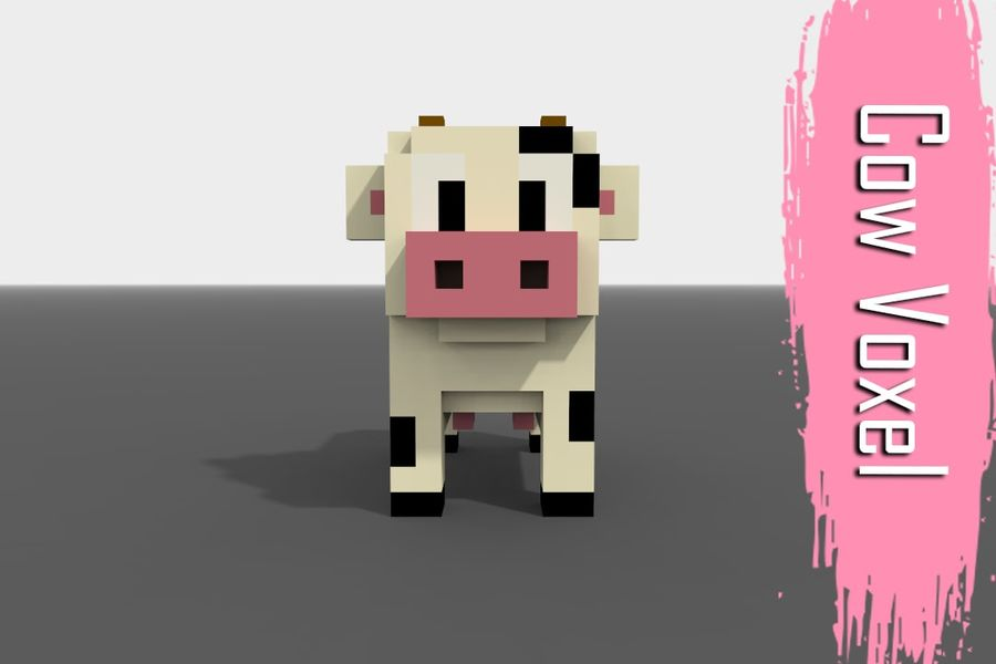 Voxel Cow low-poly royalty-free 3d model - Preview no. 1
