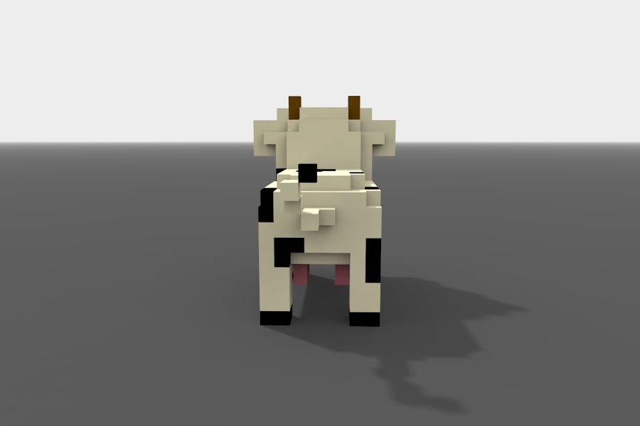 Voxel Cow low-poly royalty-free 3d model - Preview no. 5