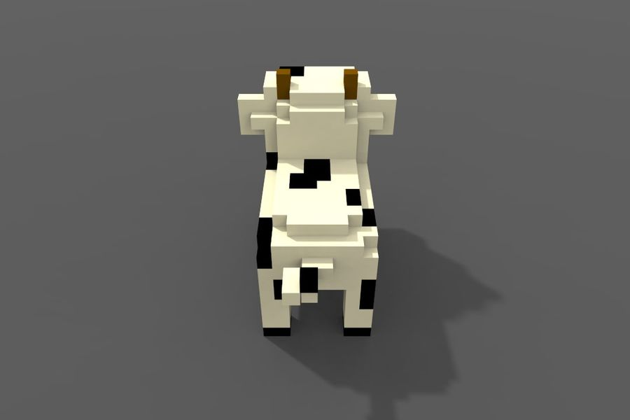 Voxel Cow low-poly royalty-free 3d model - Preview no. 8