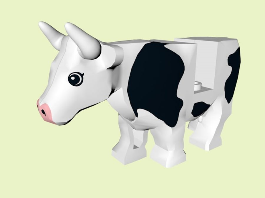LEGO Farm Cow Animal royalty-free 3d model - Preview no. 1