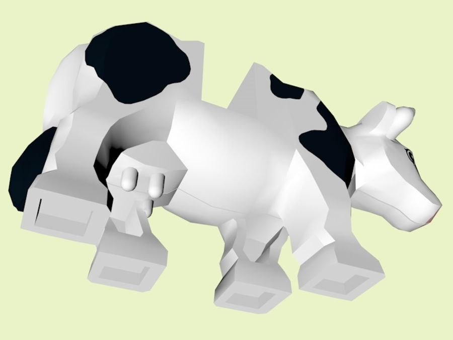 LEGO Farm Cow Animal royalty-free 3d model - Preview no. 5