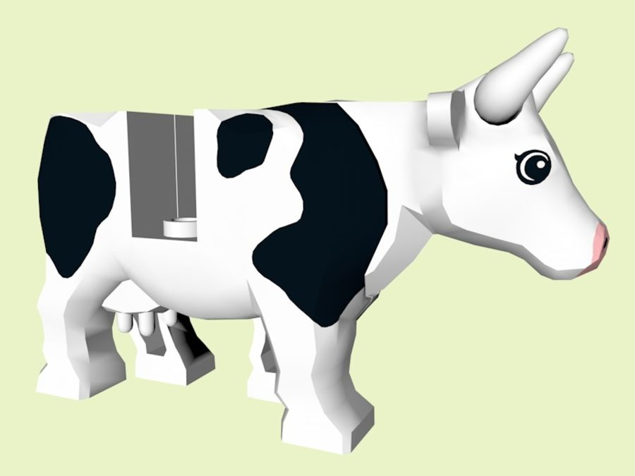 LEGO Farm Cow Animal royalty-free 3d model - Preview no. 4