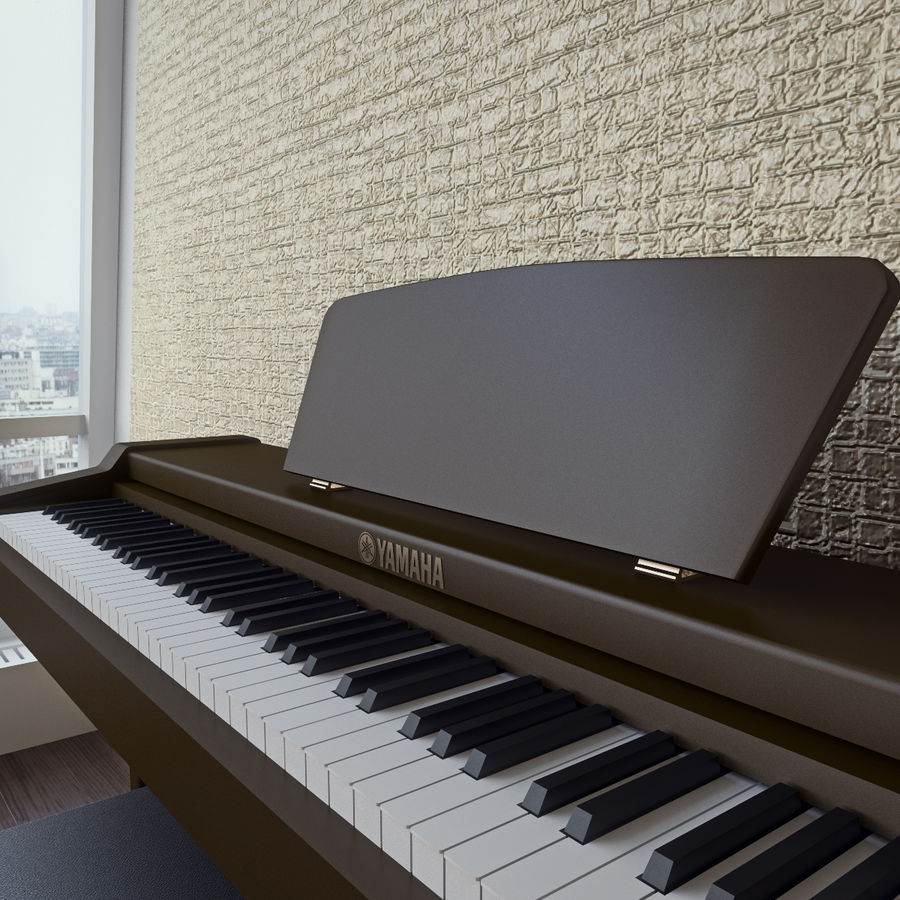 Пианино Yamaha Clavia royalty-free 3d model - Preview no. 8
