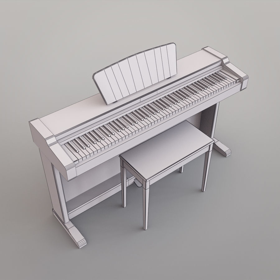 Пианино Yamaha Clavia royalty-free 3d model - Preview no. 20