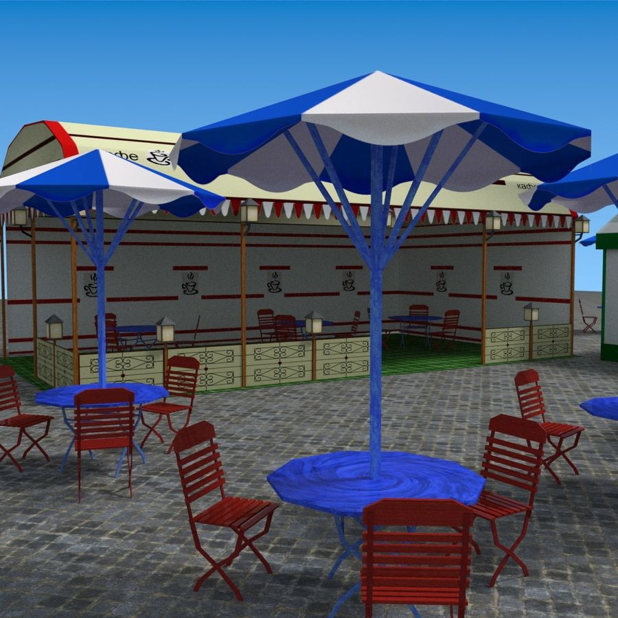 Tents cafe royalty-free 3d model - Preview no. 11