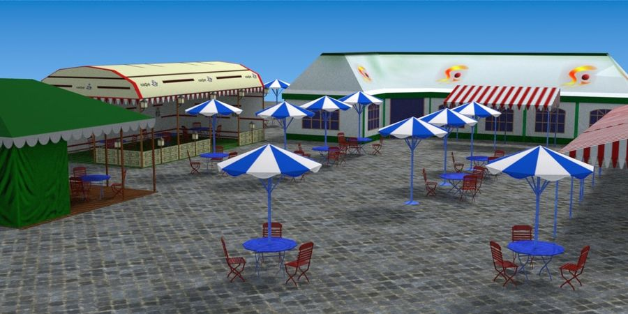 Tents cafe royalty-free 3d model - Preview no. 13