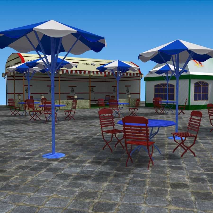 Tents cafe royalty-free 3d model - Preview no. 12