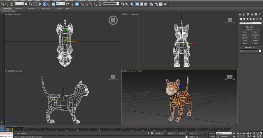 cute cat model royalty-free 3d model - Preview no. 8