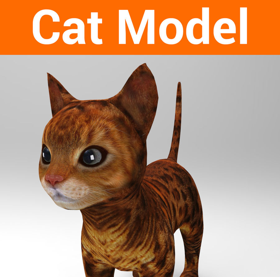 cute cat model royalty-free 3d model - Preview no. 1
