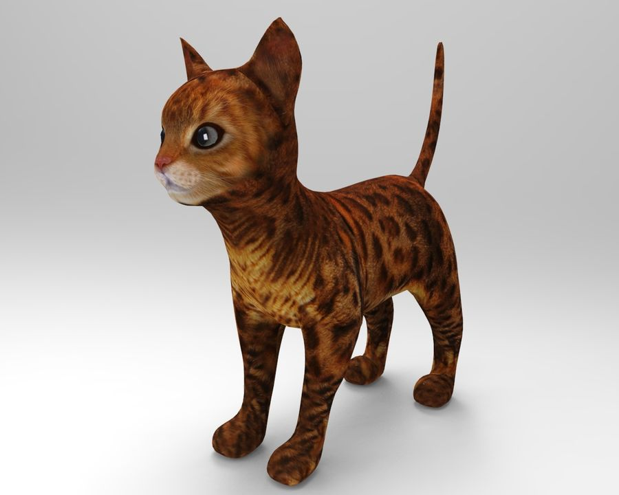 cute cat model royalty-free 3d model - Preview no. 2