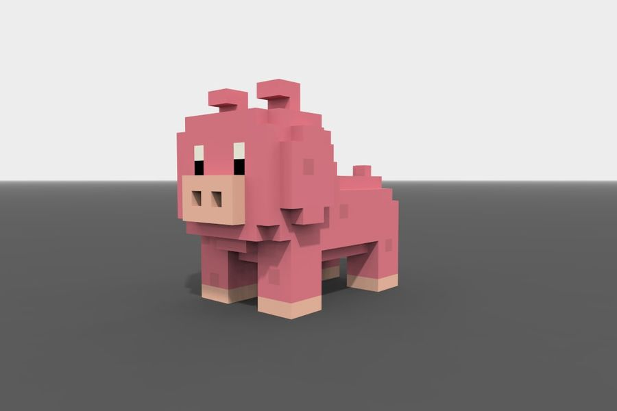 Voxel Pig low-poly royalty-free 3d model - Preview no. 3