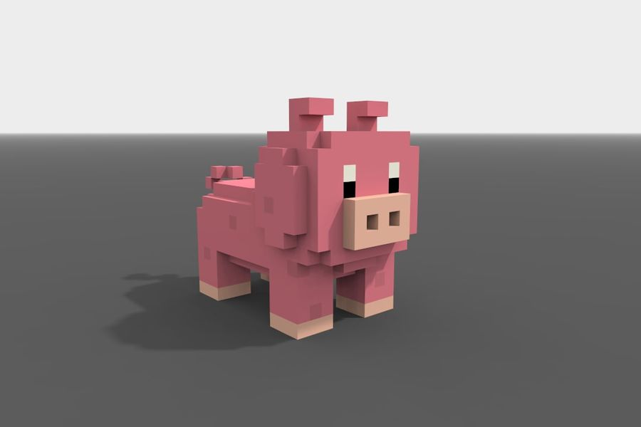 Voxel Pig low-poly royalty-free 3d model - Preview no. 7