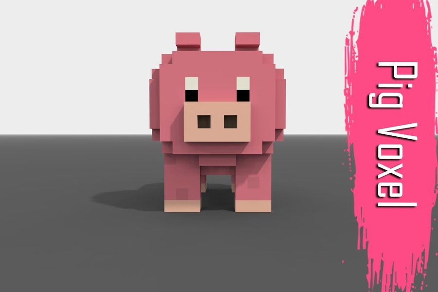 Voxel Pig low-poly royalty-free 3d model - Preview no. 1