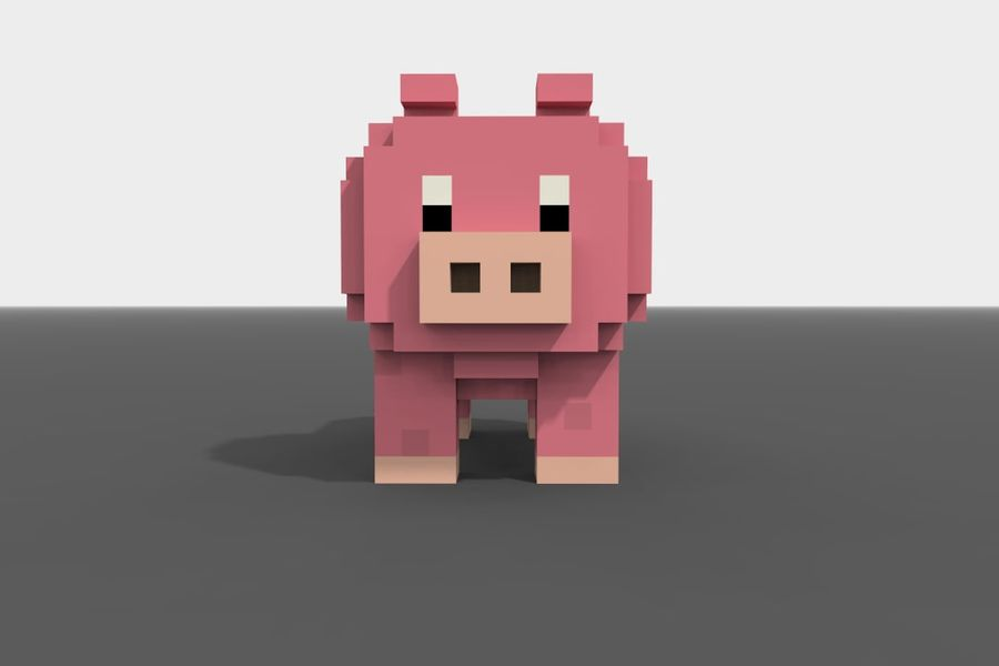 Voxel Pig low-poly royalty-free 3d model - Preview no. 2