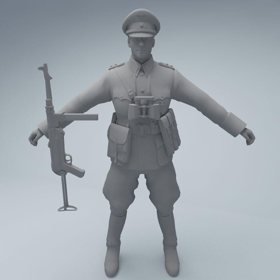Wehrmacht oficial soldado WW2 royalty-free 3d model - Preview no. 3