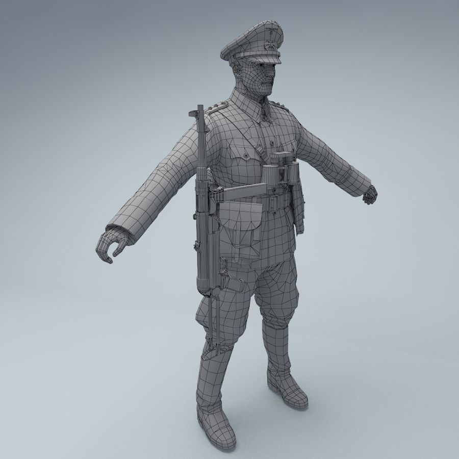 Wehrmacht oficial soldado WW2 royalty-free 3d model - Preview no. 4