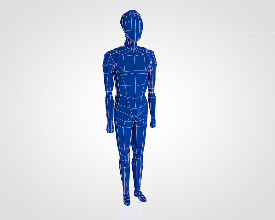 LowPoly basic character (Rigged) royalty-free 3d model - Preview no. 3