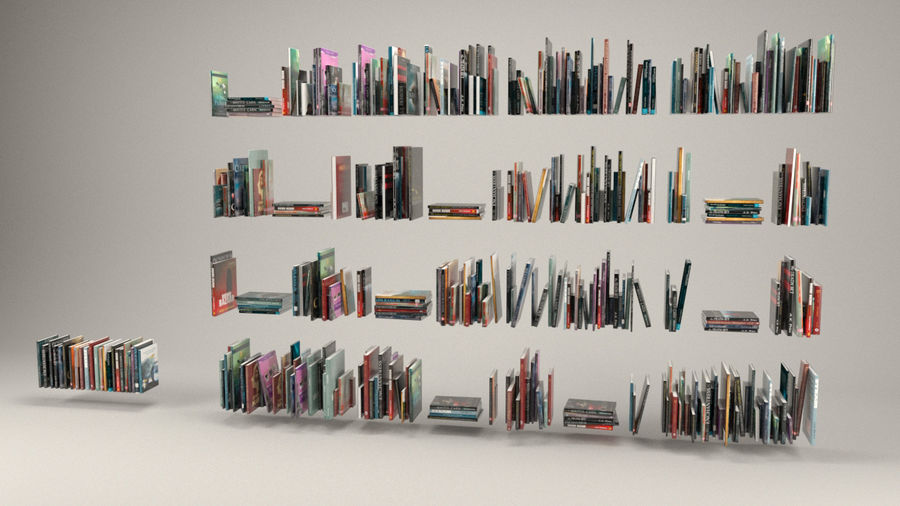 Boekencollectie royalty-free 3d model - Preview no. 2