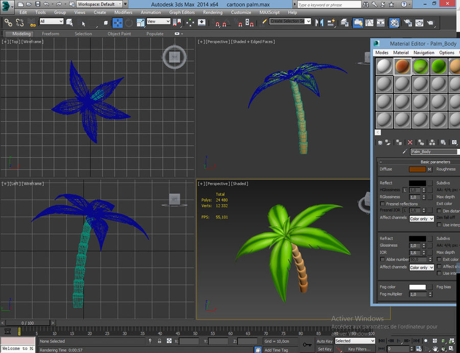 Palme-Karikatur 2 royalty-free 3d model - Preview no. 5