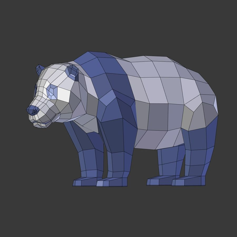 Bear_Panda_LOW POLY royalty-free 3d model - Preview no. 8