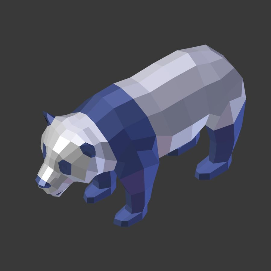 Bear_Panda_LOW POLY royalty-free 3d model - Preview no. 9